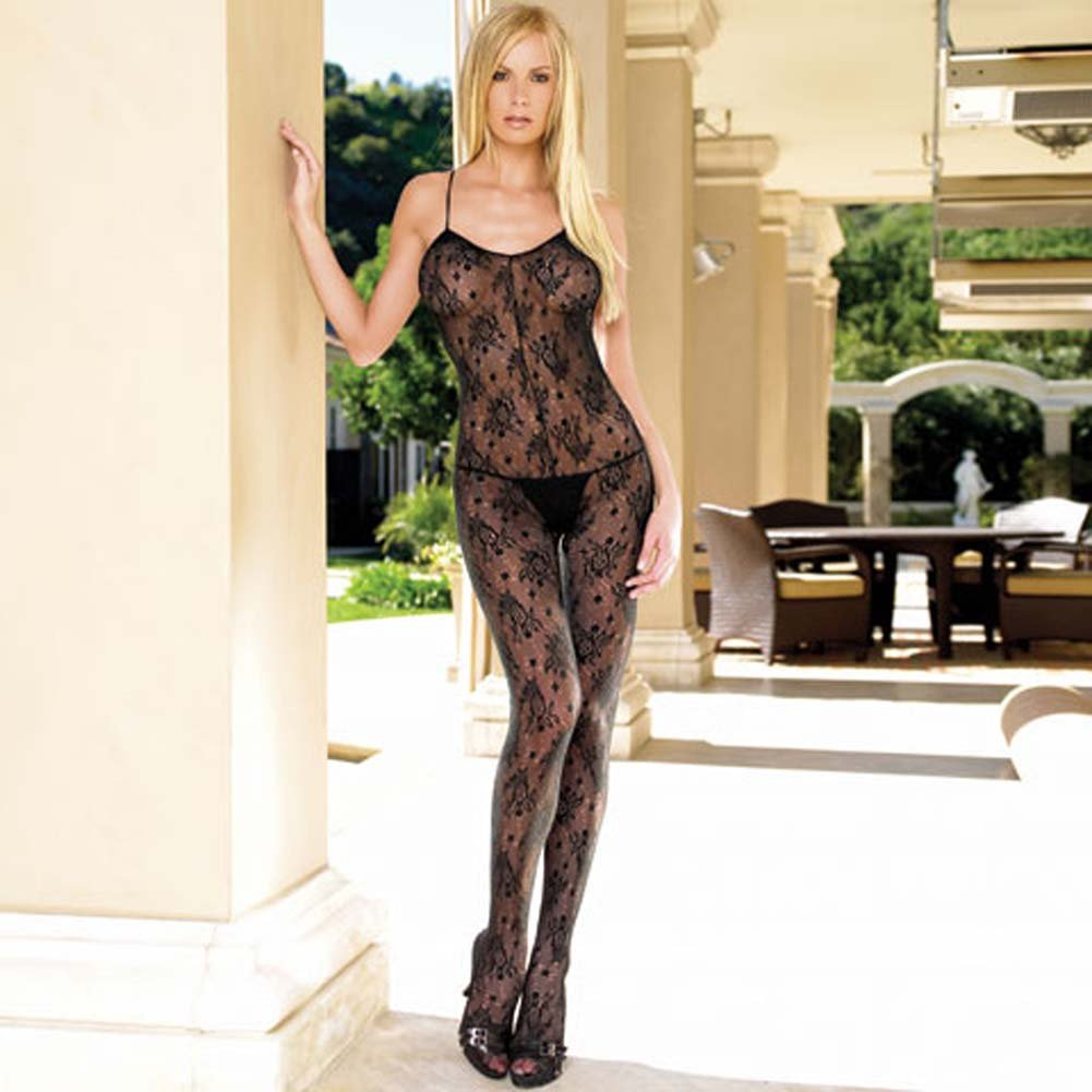 Lace Open Crotch Bodystocking with Strappy Elastic Back - View #2