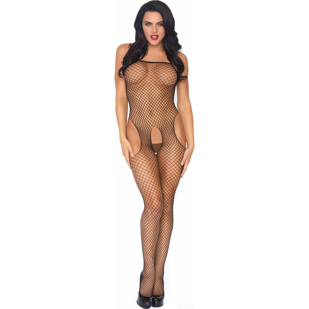 Seamless Industrial Net Suspender Bodystocking One Size Black - View #1