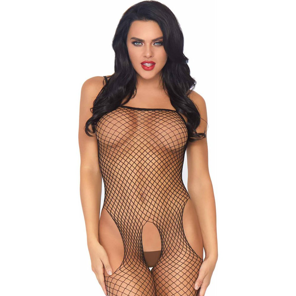 Seamless Industrial Net Suspender Bodystocking One Size Black - View #3