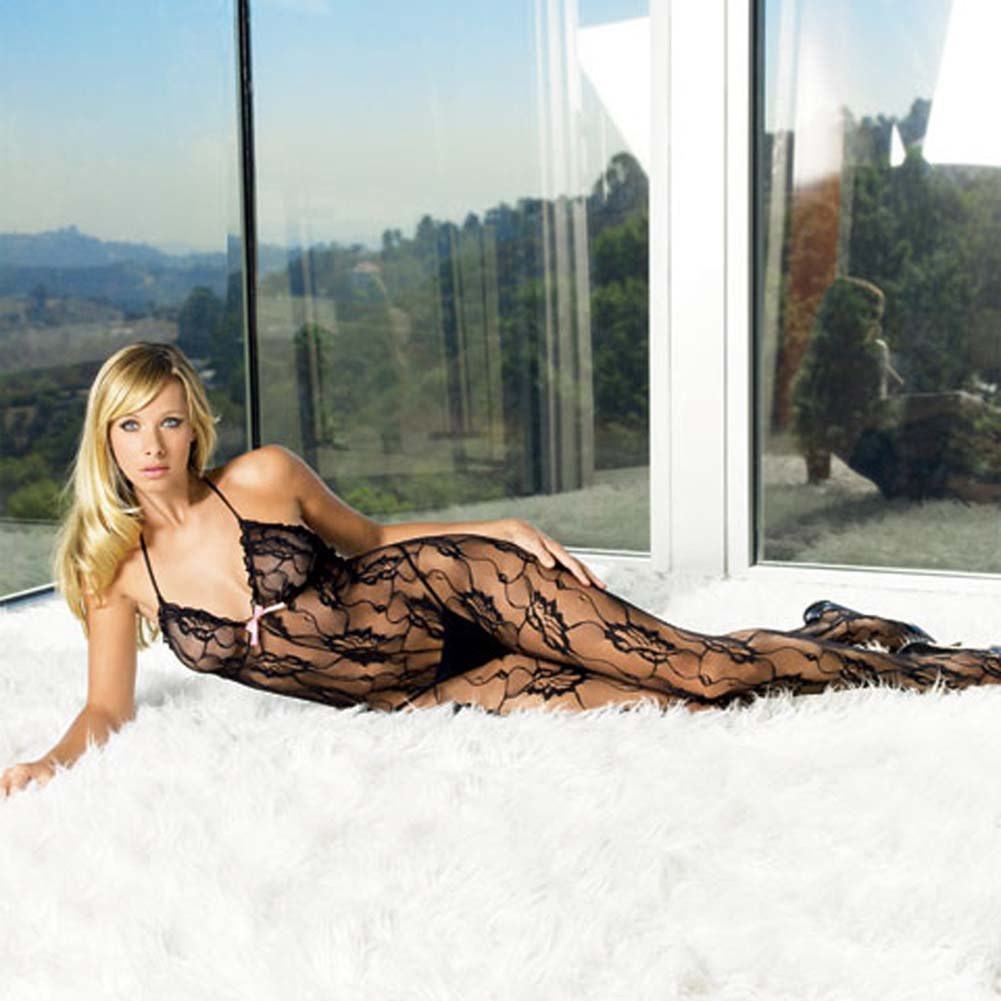 Rose Lace Halter Bodystocking Black with Satin Bow - View #2
