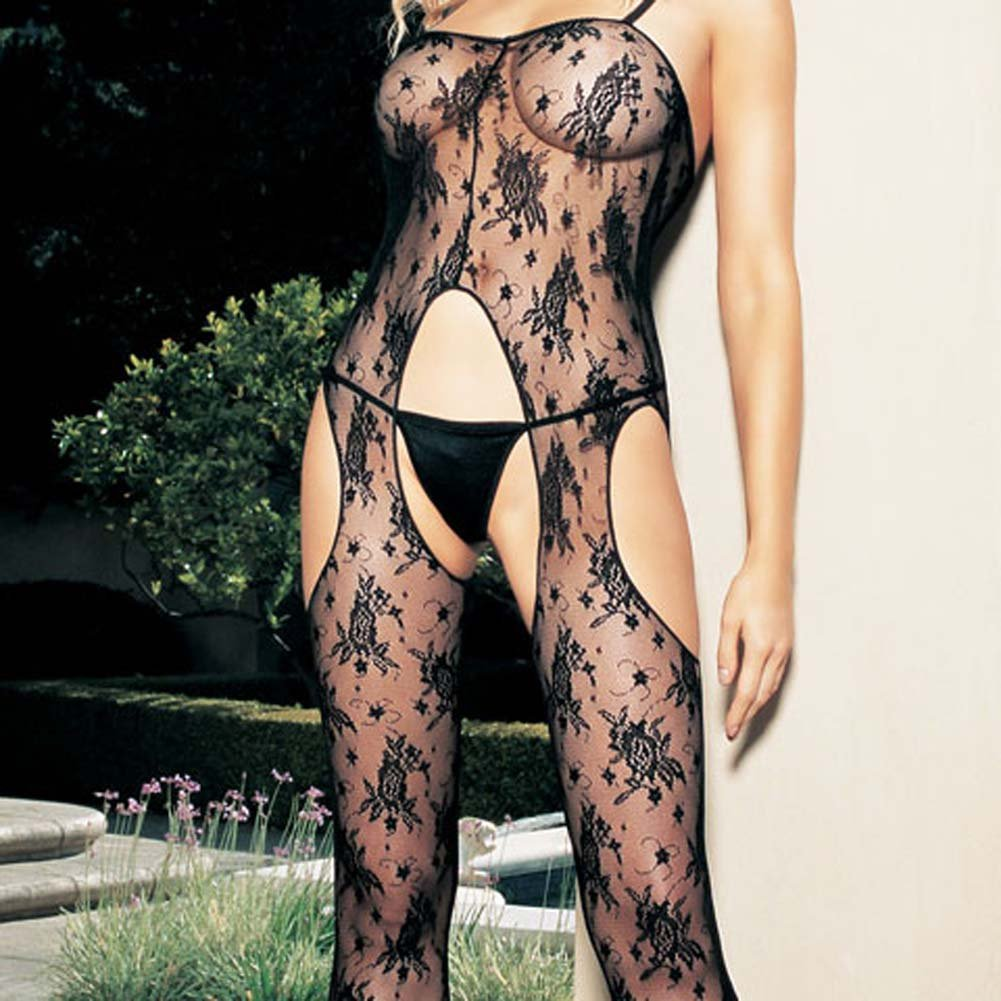 Bouquet Rose Lace Suspender with Side Holes Bodystocking - View #1
