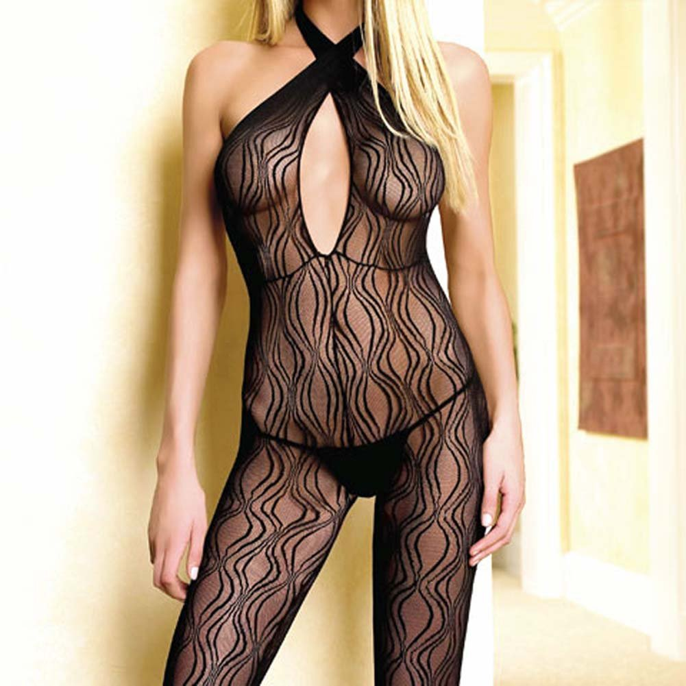 Criss Cross Keyhole Swirl Lace Open Crotch Bodystocking - View #2