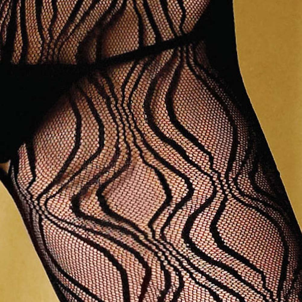 Criss Cross Keyhole Swirl Lace Open Crotch Bodystocking - View #4