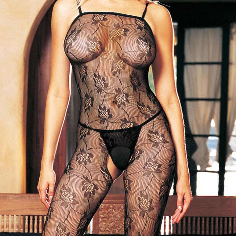 Seamless Rose Lace Spaghetti Strapped Bodystocking Black - View #1