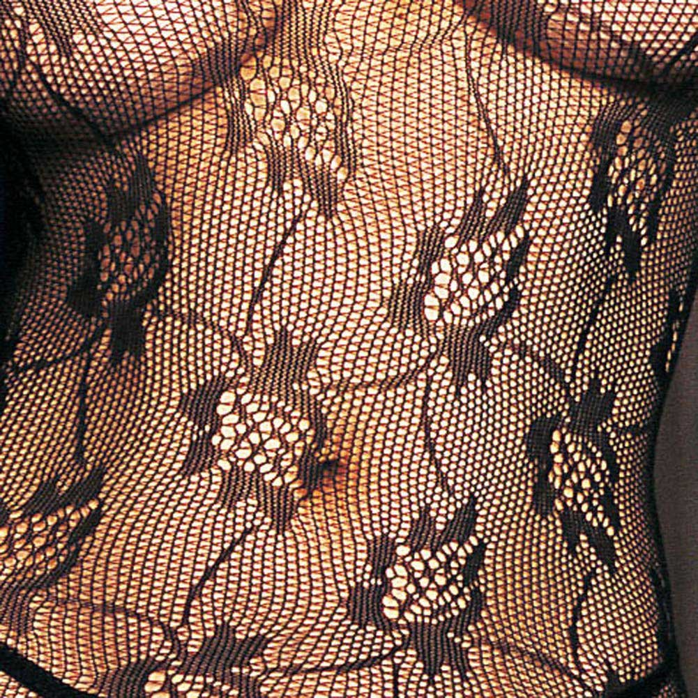Seamless Rose Lace Spaghetti Strapped Bodystocking Black - View #3