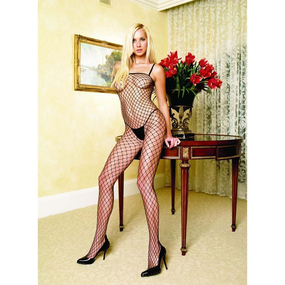 Seamless Lycra Industrial Net Crotchless Bodystocking One Size Black - View #2