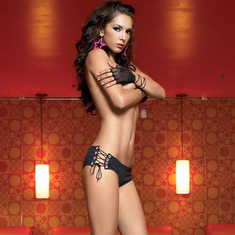 Lace Up Sides Panty with Star Studs and Sexy Logo Print - View #2