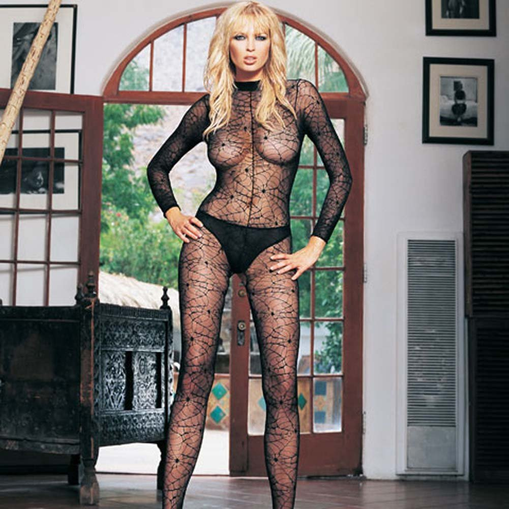 Long Sleeved High Collared Spiderweb Lace Bodystocking - View #2