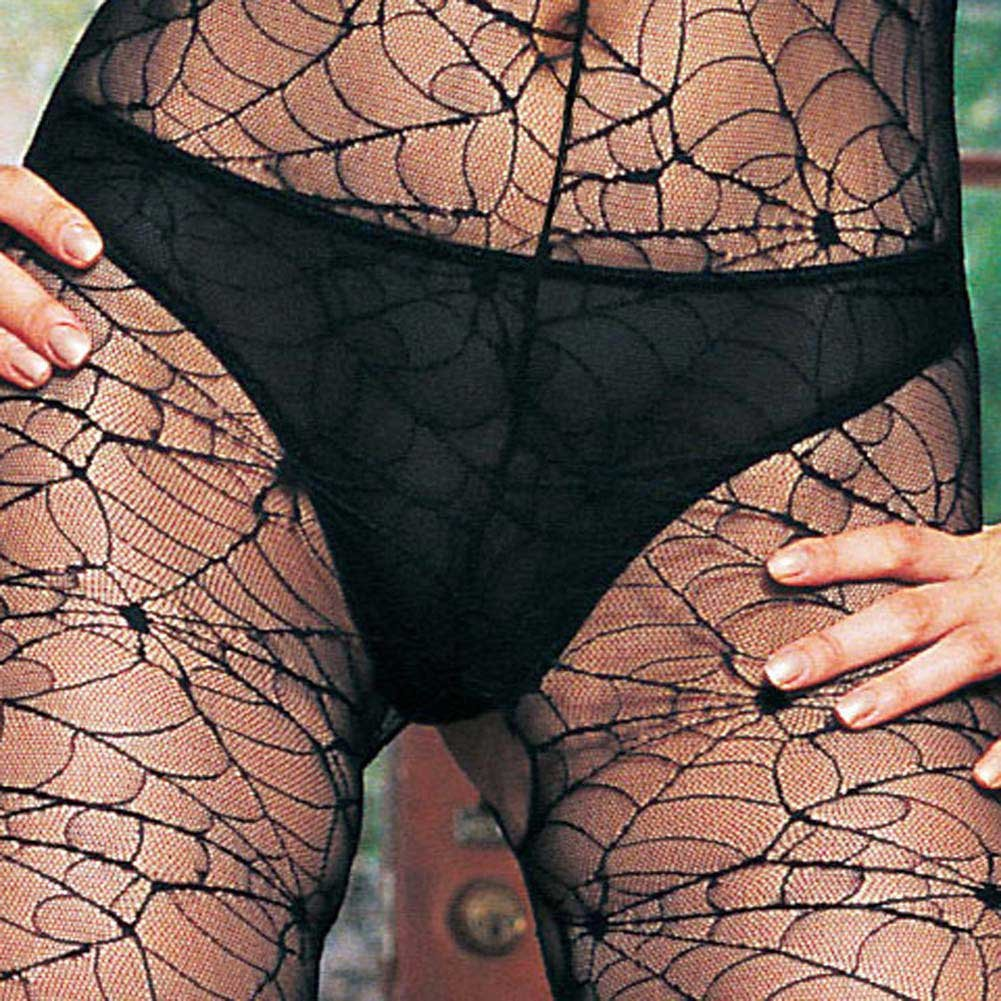 Long Sleeved High Collared Spiderweb Lace Bodystocking - View #4