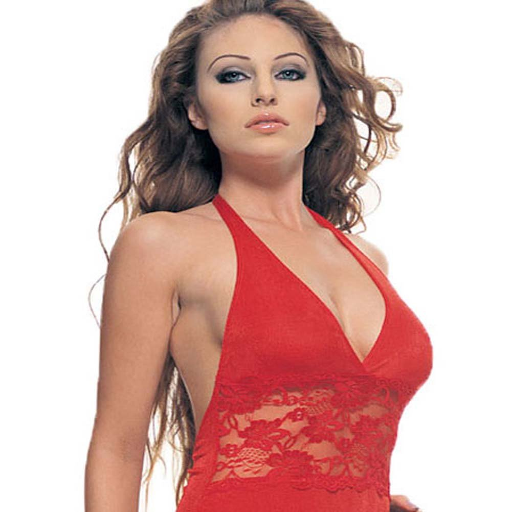 Slinky Halter Mini Dress with Lace Inset Red Plus Size - View #1