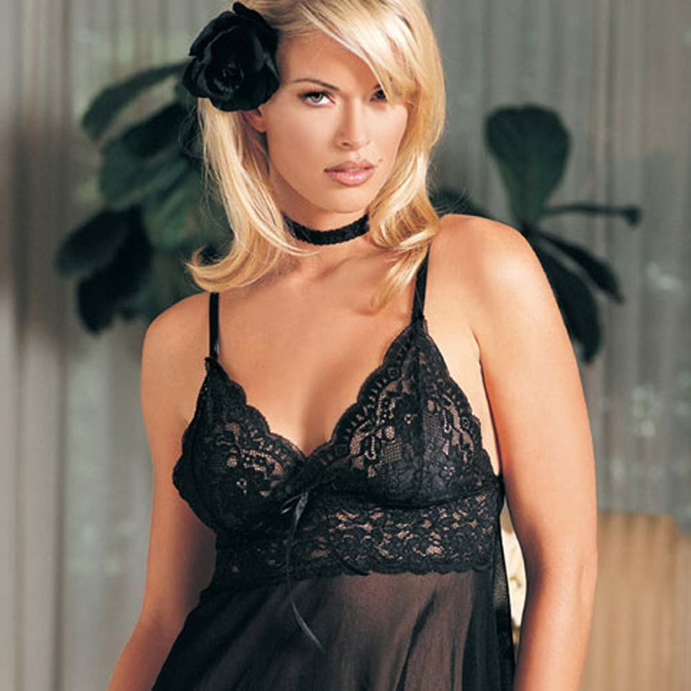 Lace Soft Cup Babydoll with G-String Black Set 2 Pc. - View #1