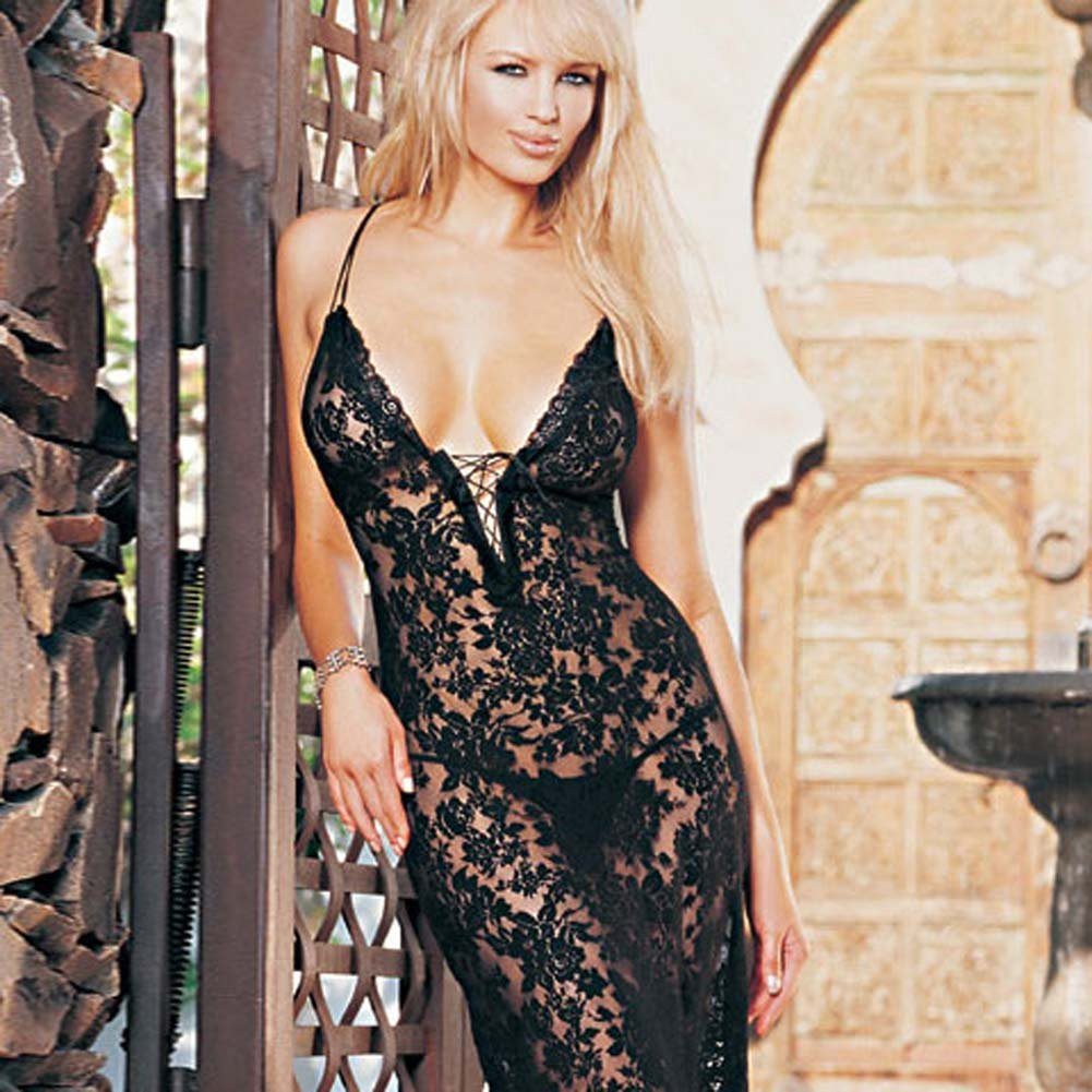 Spanish Lace Dress with Lace Up Front and G-String Black - View #2