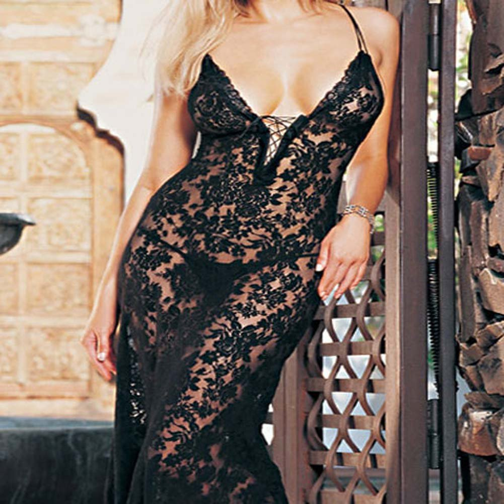 Spanish Lace Dress with Lace Up Front and G-String Plus Size - View #1