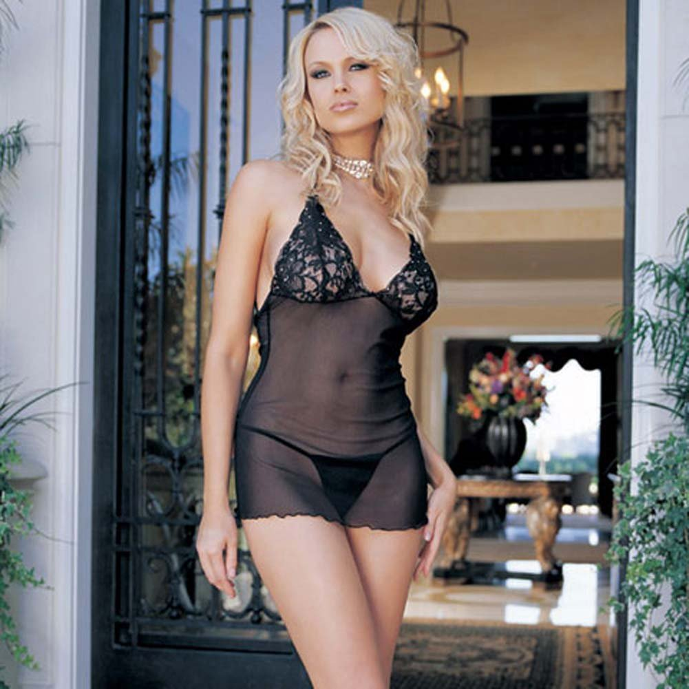 Lace Cup Mesh Dress with Rhinestone Accents and G-String - View #1