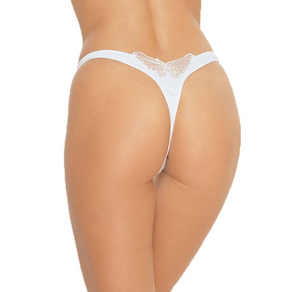 Lycra V Front Lined Thong with Butterfly Applique On White - View #2