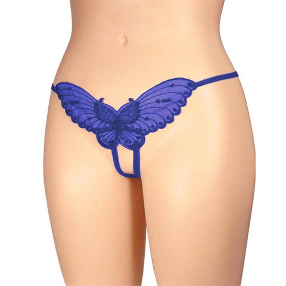 Sheer Butterfly Crotchless Panty Blue Plus Size - View #1