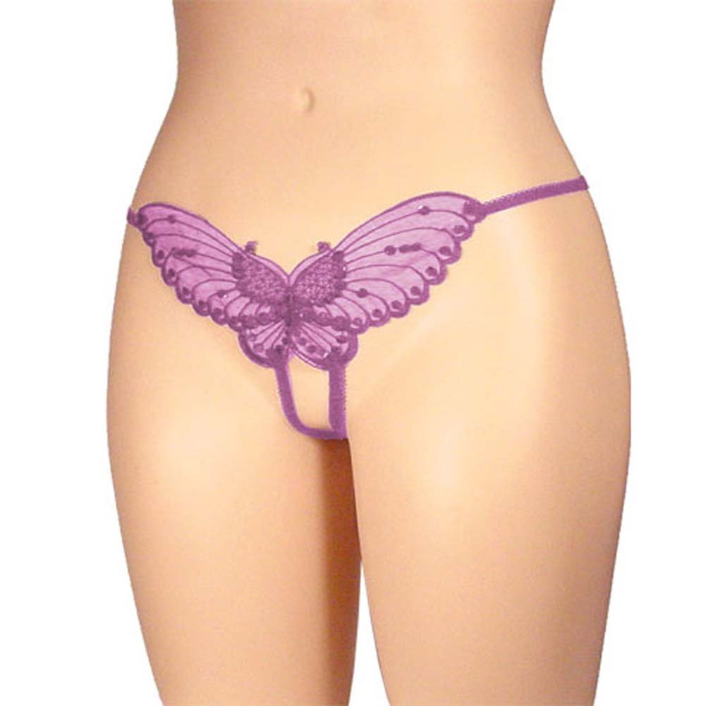 Sheer Butterfly Crotchless Panty Lavender Plus Size - View #1