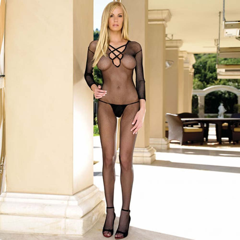 Seamless Reversible Fishnet Long Sleeves Bodystocking Black - View #1