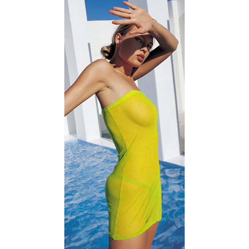 Mesh Tube Dress with Side Slit and G-String Neon Lime - View #2