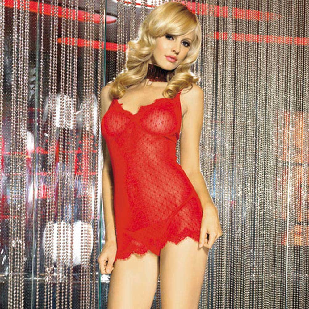 Mini Daisy Lace Chemise with Eyelash Lace Trim Set Red - View #1