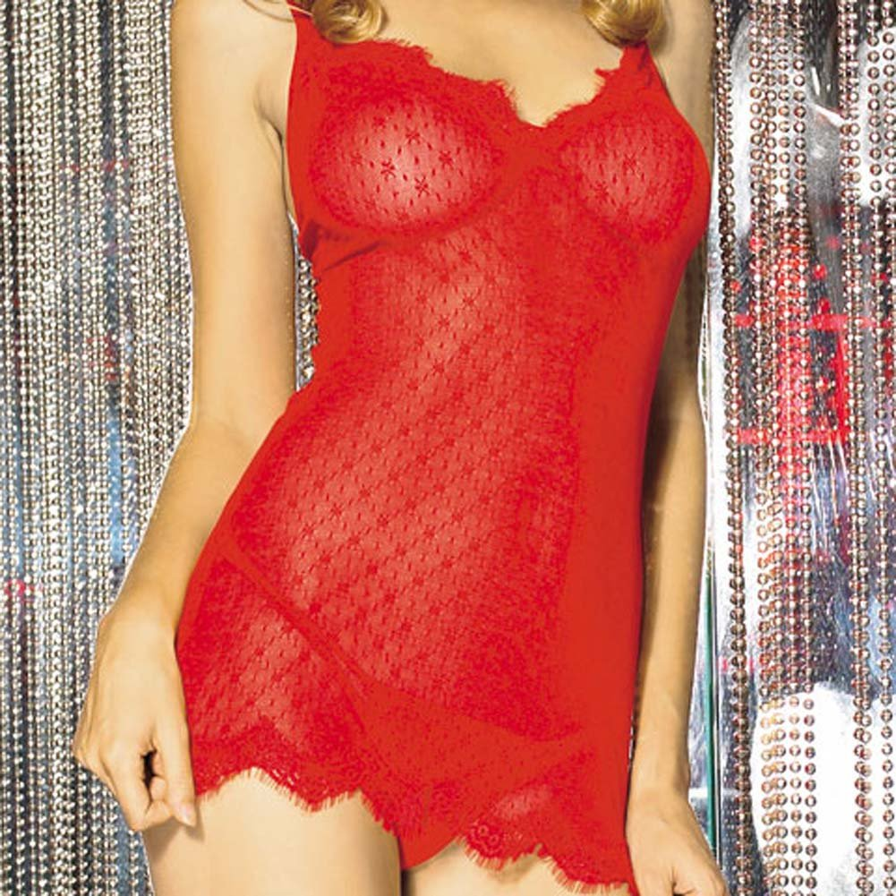 Mini Daisy Lace Chemise with Eyelash Lace Trim Set Red - View #3