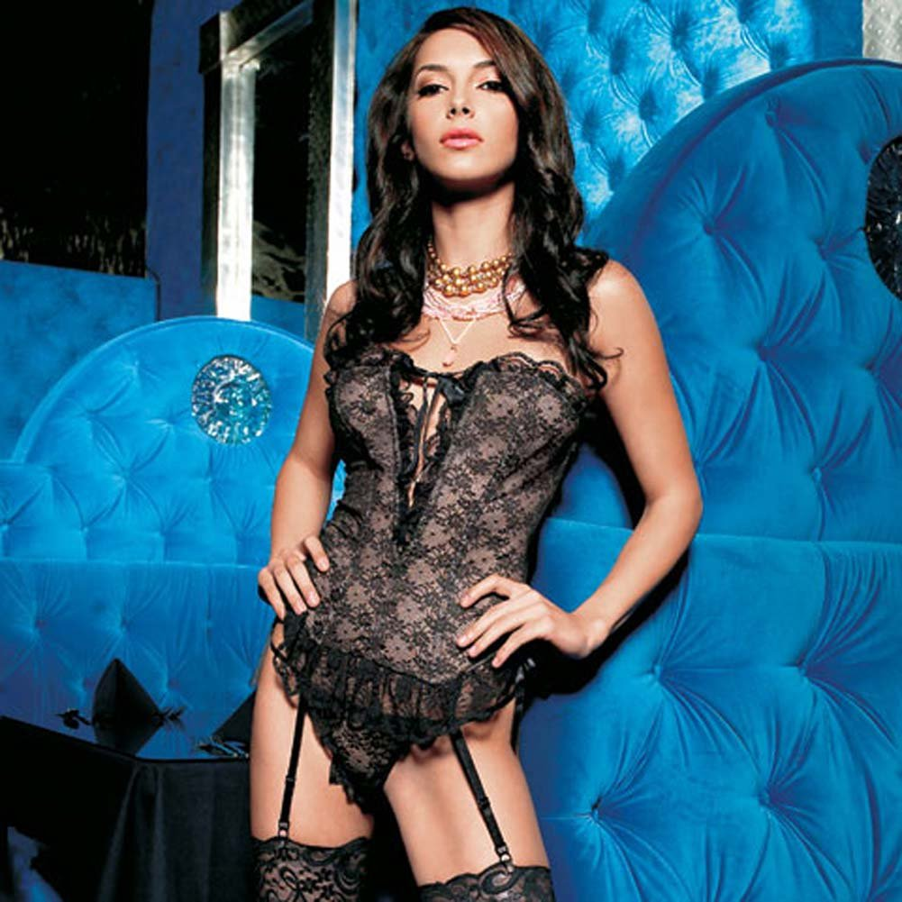 Strapless V Cut Lace Bustier and G-String Set Small - View #1