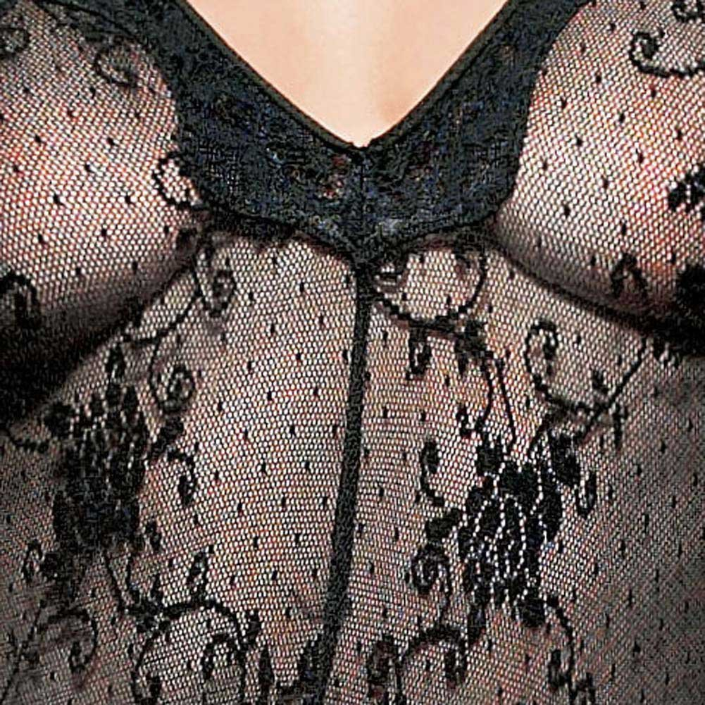 Boudoir Rose Lace Bodystocking with Scalloped Lace Trim - View #4