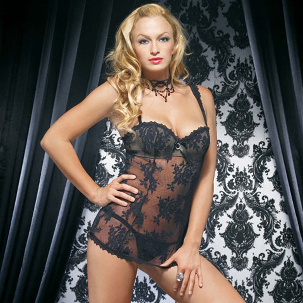 Lace Mini Dress with Underwired Bra Shell and Thong Large Black - View #2
