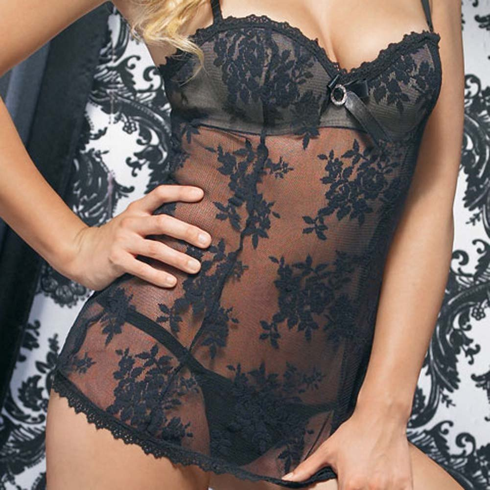Lace Mini Dress with Underwired Bra Shell and Thong Large Black - View #4