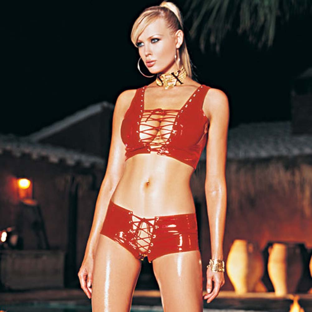 Vinyl Lace Up Front Top with Lace Up Shorts Set Red Small - View #1