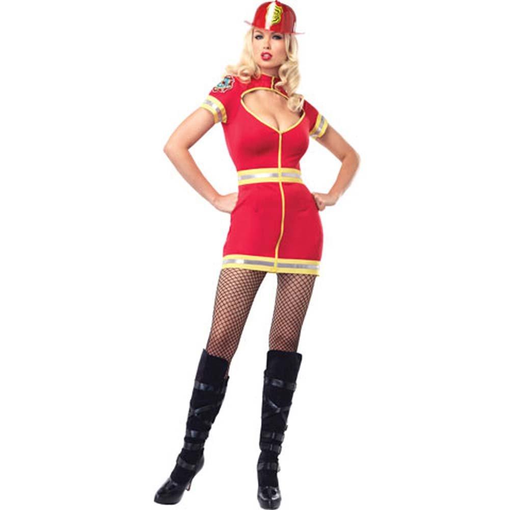 Flirty Firefighter Costume Small/Medium Red/Yellow - View #2