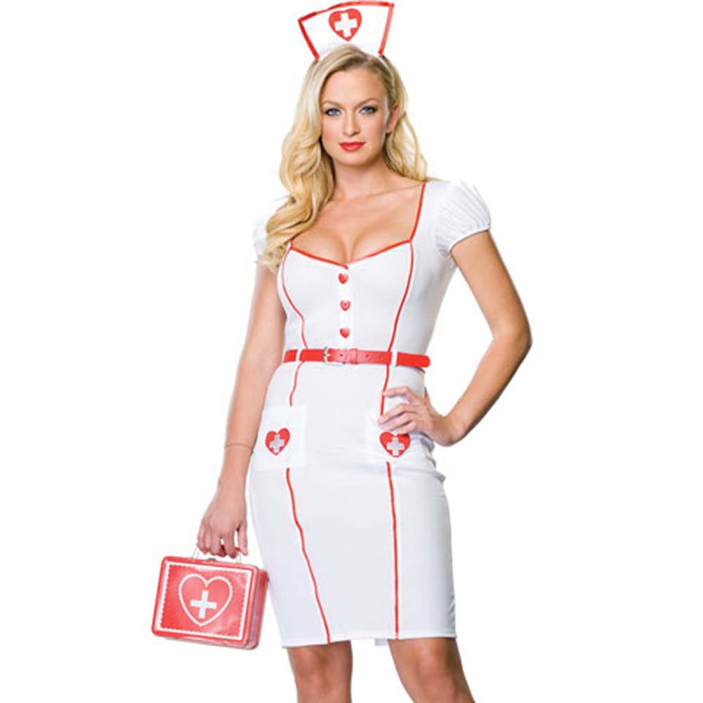 Nurse Knockout Costume Small/Medium WhiteRed - View #1