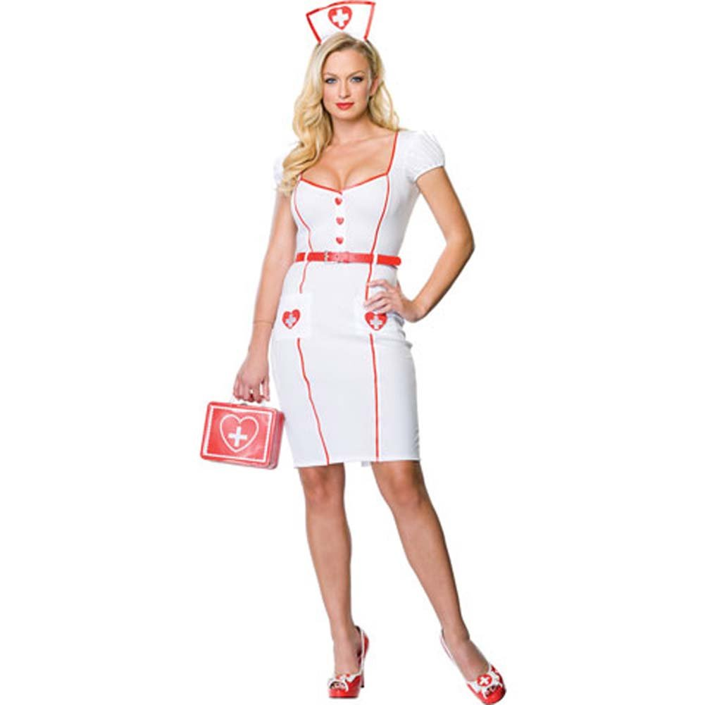 Nurse Knockout Costume by Leg Avenue Medium/Large White/Red - View #2