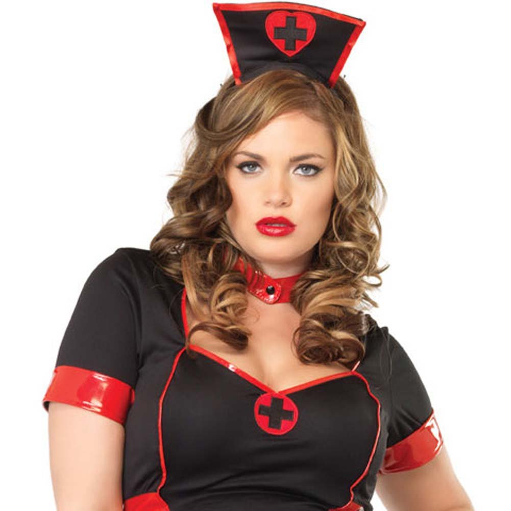 Private Nurse Costume Size Plus 1X/2X Black - View #3