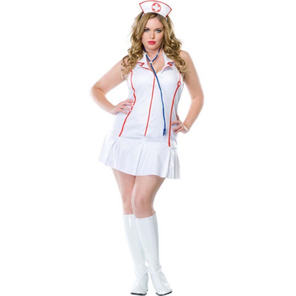 Head Nurse Costume Size Plus 1X/2X WhiteRed - View #2