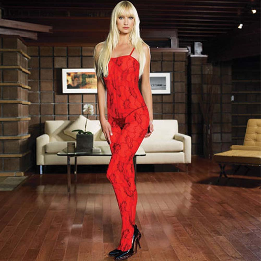Rose Lace Crotchless Bodystocking Red - View #1