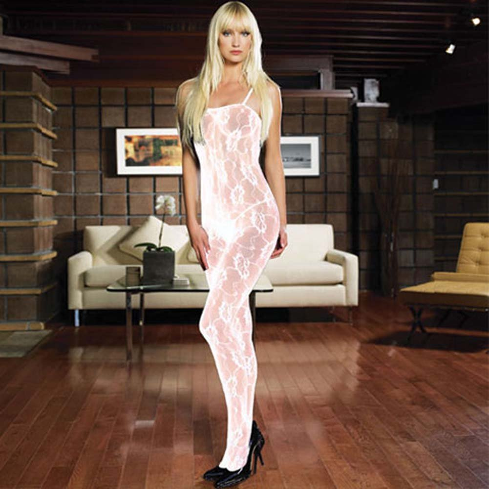 Rose Lace Crotchless Bodystocking White - View #1