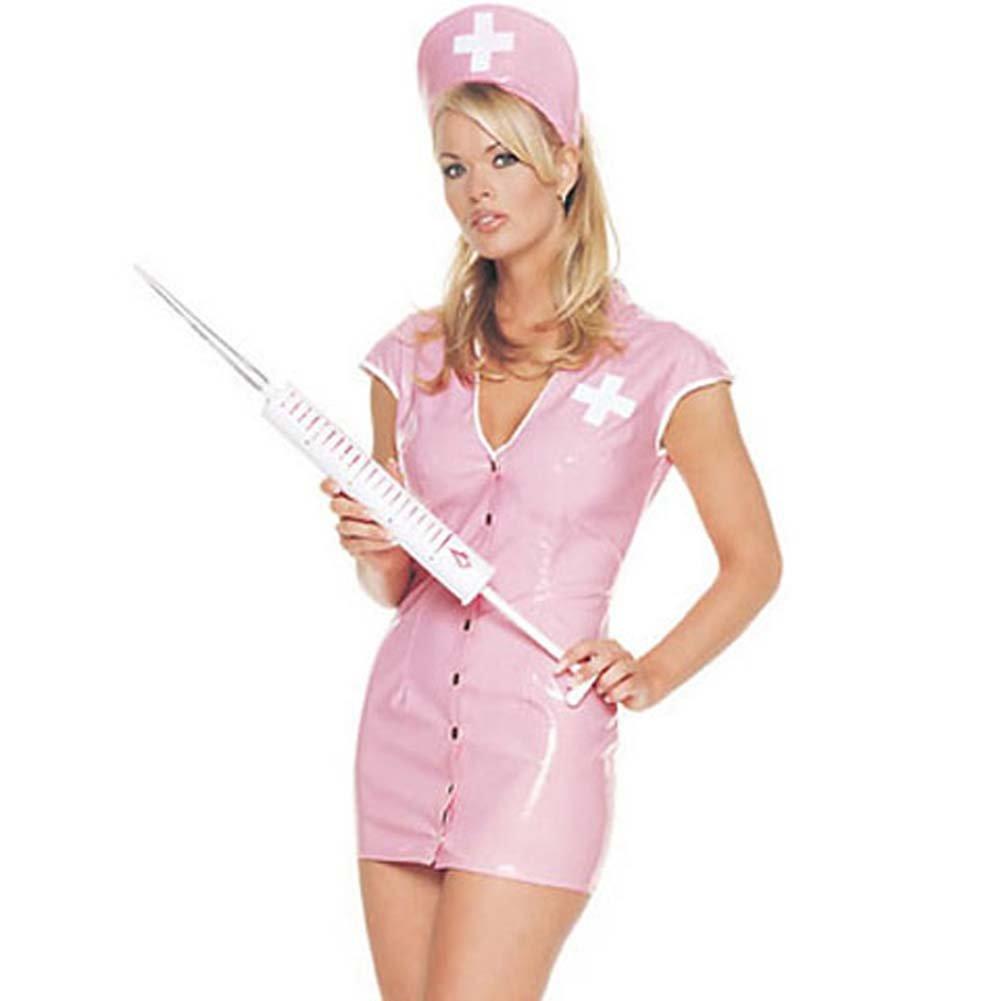 Vinyl Nurse Outfit Costume Large Pink - View #1