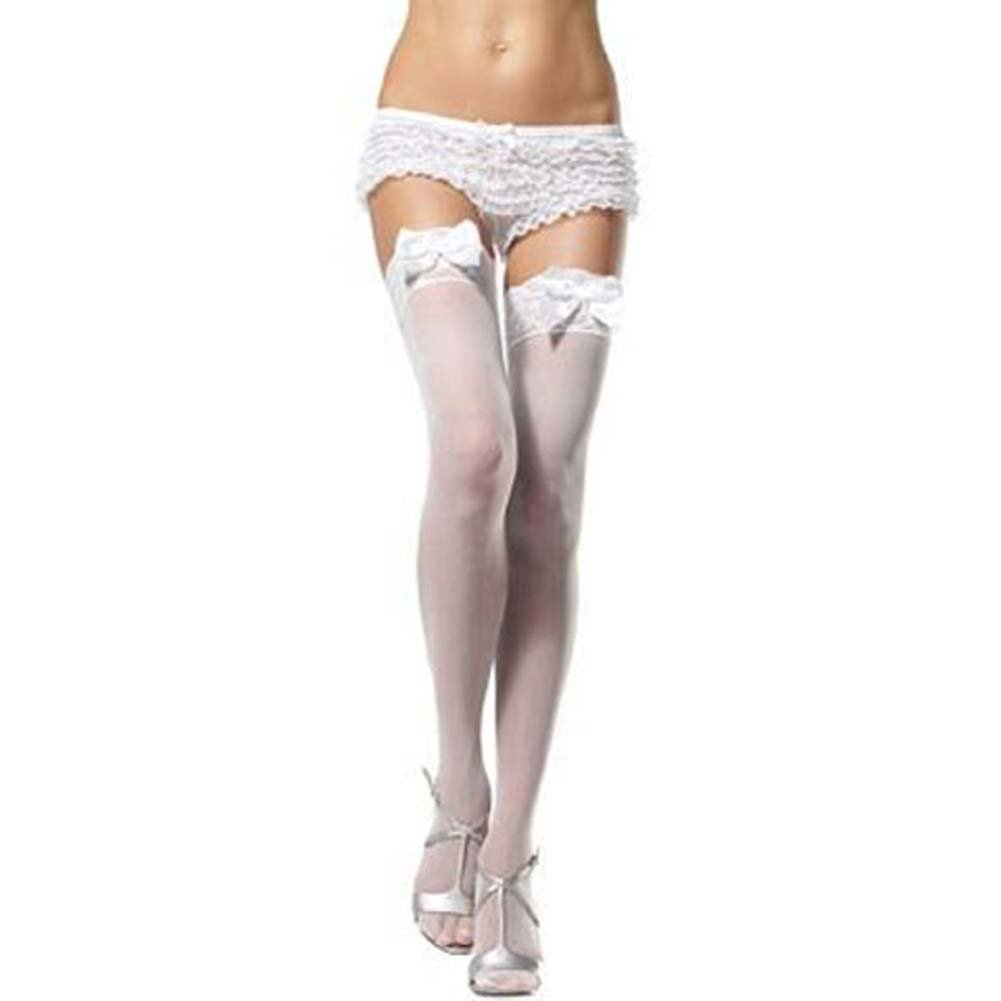 Sheer Thigh Highs Lace Top with Satin Bows White - View #1