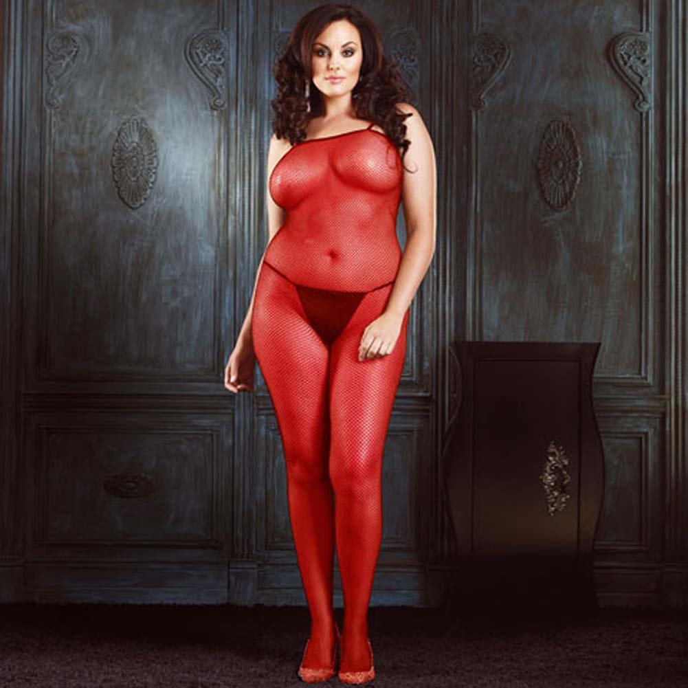 Seamless Fishnet Crotchless Bodystocking Red Plus Size - View #1