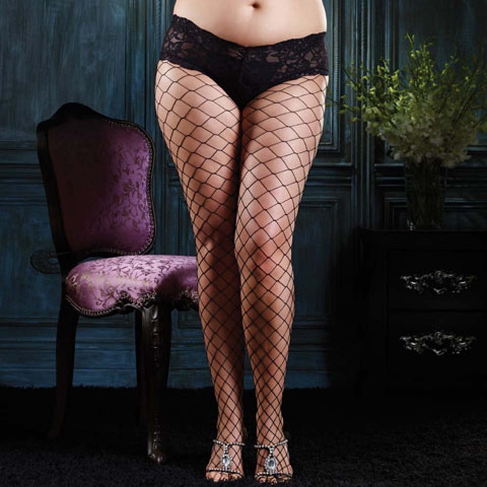 Diamond Net Pantyhose with Sexy Lace Boy Short Top Plus Size - View #1