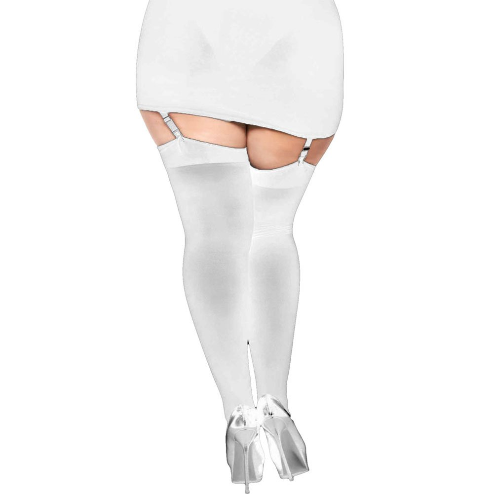 Opaque Thigh Highs with Satin Bow Plus Size White - View #2
