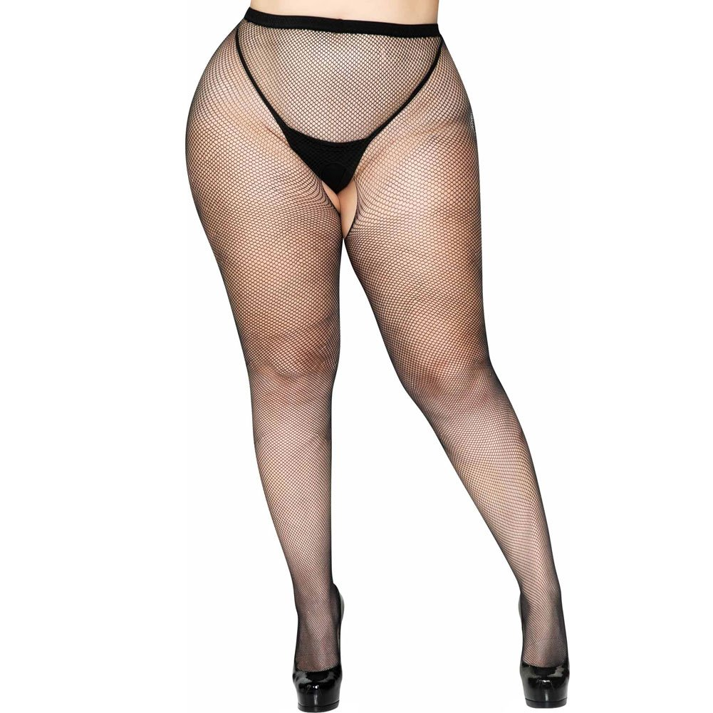 Leg Avenue Crotchless Fishnet Pantyhose Plus Size Black - View #1