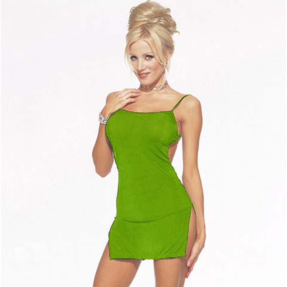 Sexy Slinky Mini Dress with Lace Up Back One Size Lime - View #3