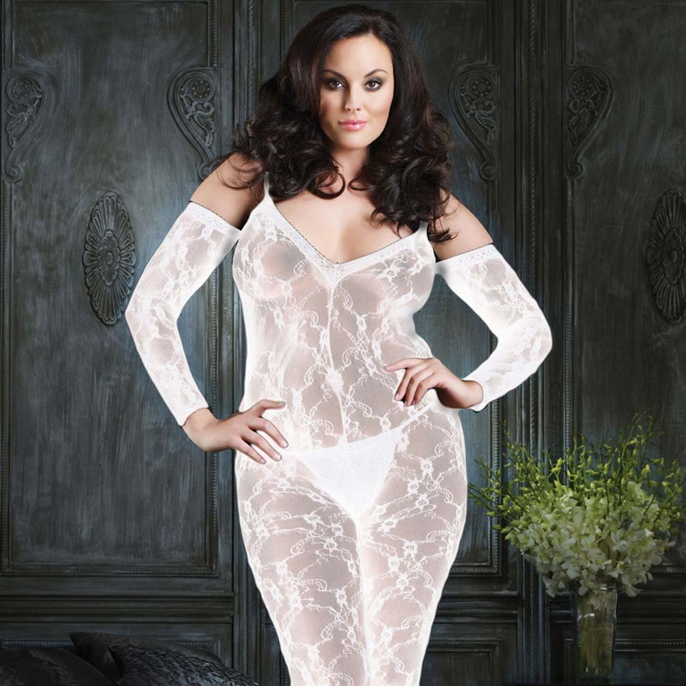 Fashion Lace and Shoulder Cut Bodystocking White Plus Size - View #1