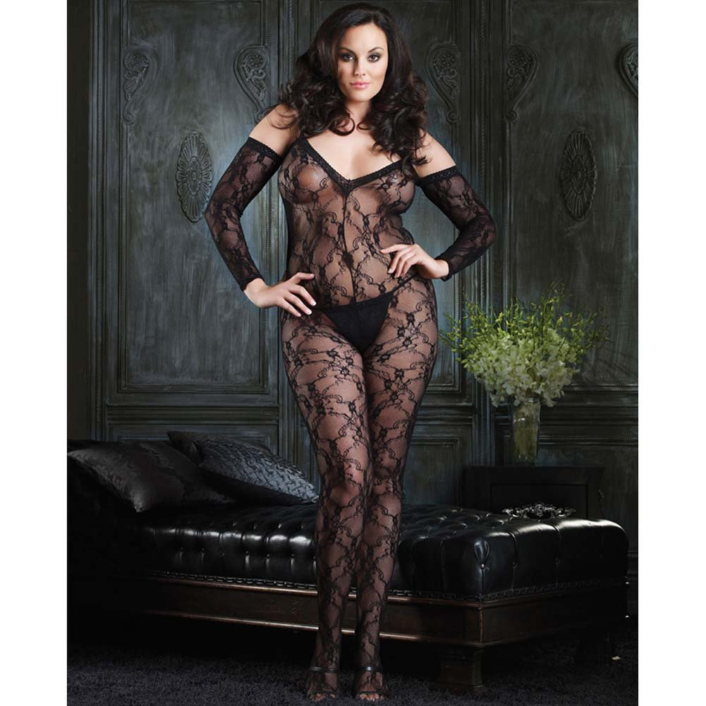 Fashion Lace and Shoulder Cut Bodystocking Red Plus Size - View #2