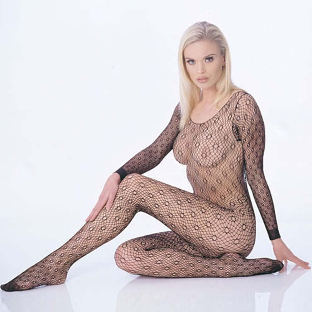 Sweet and Seamless Honeycomb Bodystocking One Size Black - View #2