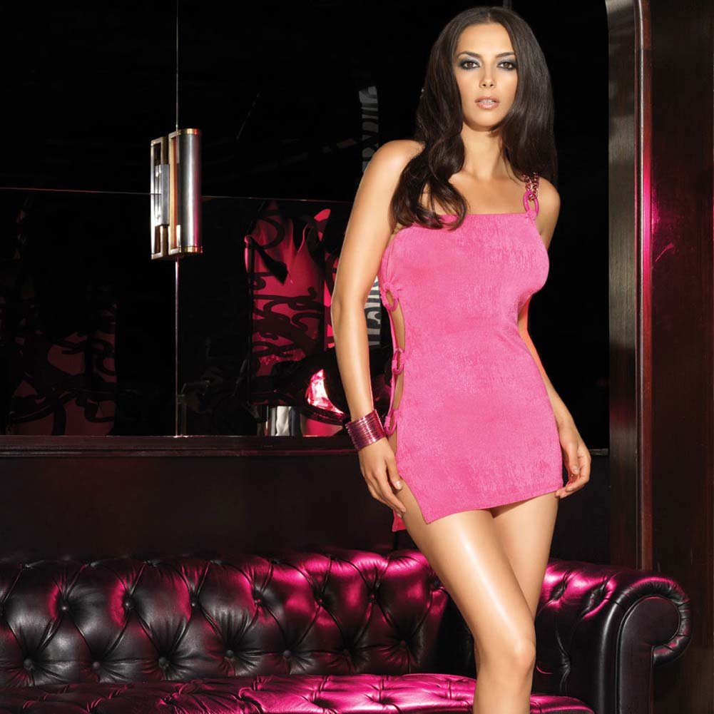 Single Strapped Cut Out Mini Chemise Hot Pink Small/Medium - View #3
