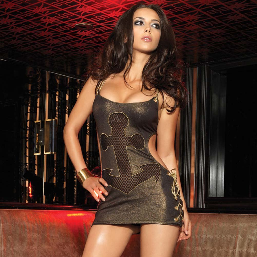 Leg Avenue Glimmering Gold Rope and Anchor Chemise Medium/Large Gold - View #1
