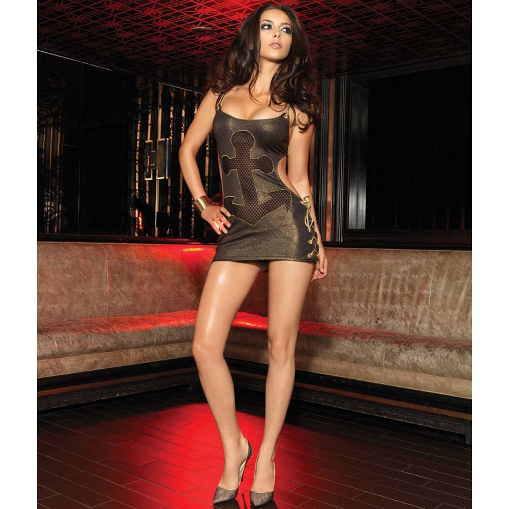 Leg Avenue Glimmering Gold Rope and Anchor Chemise Medium/Large Gold - View #3